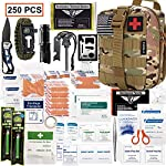 EVERLIT 250 Pieces Survival First Aid Kit IFAK Molle System Compatible Outdoor Gear Emergency Kits Trauma Bag for… 9 ✅【Exclusive 250 PCS First Aid Survival Kit Contained a Military Molle EMT Pouch】Uniquely customized by U.S military veterans, field tested by EX- Army Sergent, designed to get you well-prepared in an emergency situation. The kit combines 241 PCS First Aid Supply with 9 powerful Survival Gear into a Must-Have EDC emergency kit. ✅【Comprehensive First Aid Treatment Exceeds OSHA Guidelines For Single Family】The kit contains more than enough supply to treat a single family or a group of friends under emergency circumstances. Perfect for taking care of any medical or emergency needs during outdoor wilderness adventures such as camping, boy scouts, hiking, hunting and mountain biking, etc. ✅【Molle Compatible, Durable, Portable, and Water-Resistant】The military grade EMT bag was made from 1000D water-resistant nylon, it offers three large compartments and plenty of rooms to add your own gear. The overall dimension of the kit is 8'' x 6.5'' x 5'' and weight only 1.9 lbs. The molle compatible straps on the back allow the user to attach it to other bags or your belt, which made it a perfect companion for any outdoor activities.
