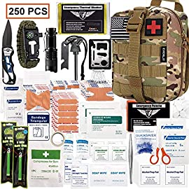 EVERLIT 250 Pieces Survival First Aid Kit IFAK Molle System Compatible Outdoor Gear Emergency Kits Trauma Bag for Camping Boat Hunting Hiking Home Car Earthquake and Adventures 3 <p>✅【Exclusive 250 PCS First Aid Survival Kit Contained a Military Molle EMT Pouch】Uniquely customized by U.S military veterans, field tested by EX- Army Sergent, designed to get you well-prepared in an emergency situation. The kit combines 241 PCS First Aid Supply with 9 powerful Survival Gear into a Must-Have EDC emergency kit ✅【FDA Approved Comprehensive First Aid Treatment Exceeds OSHA Guidelines For Single Family】The kit contains more than enough supply to treat a single family or a group of friends under emergency circumstances. Perfect for taking care of any medical or emergency needs during outdoor wilderness adventures such as camping, boy scouts, hiking, hunting and mountain biking, etc. ✅【Molle Compatible, Durable, Portable, and Water-Resistant】The military grade EMT bag was made from 600D water-resistant nylon, it offers three large compartments and plenty of rooms to add your own gear. The overall dimension of the kit is 8'' x 6.5'' x 5'' and weight only 1.9 lbs. The molle compatible straps on the back allow the user to attach it to other bags or your belt, which made it a perfect companion for any outdoor activities. ✅【Top Quality Survival Gears Designed to Last】Includes the most popular survival necessities: 3-mode tactical flashlight, multi-function paracord bracelet (compass, whistle), flint stone, knife, saber card, two glow sticks and rain poncho ✅ 【Veteran Owned Company 5 – Star Customer Support】: Everlit is committed to providing the most comprehensive customer service. We proudly offer the exclusive 60-days hassle-free return over all products. We stand behind the quality of our inventory, all original Everlit products are covered under 1-year satisfaction warranty.</p>