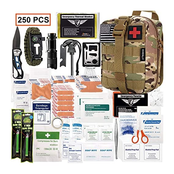 EVERLIT 250 Pieces Survival First Aid Kit IFAK Molle System Compatible Outdoor Gear Emergency Kits Trauma Bag for… 1 ✅【Exclusive 250 PCS First Aid Survival Kit Contained a Military Molle EMT Pouch】Uniquely customized by U.S military veterans, field tested by EX- Army Sergent, designed to get you well-prepared in an emergency situation. The kit combines 241 PCS First Aid Supply with 9 powerful Survival Gear into a Must-Have EDC emergency kit. ✅【Comprehensive First Aid Treatment Exceeds OSHA Guidelines For Single Family】The kit contains more than enough supply to treat a single family or a group of friends under emergency circumstances. Perfect for taking care of any medical or emergency needs during outdoor wilderness adventures such as camping, boy scouts, hiking, hunting and mountain biking, etc. ✅【Molle Compatible, Durable, Portable, and Water-Resistant】The military grade EMT bag was made from 1000D water-resistant nylon, it offers three large compartments and plenty of rooms to add your own gear. The overall dimension of the kit is 8'' x 6.5'' x 5'' and weight only 1.9 lbs. The molle compatible straps on the back allow the user to attach it to other bags or your belt, which made it a perfect companion for any outdoor activities.