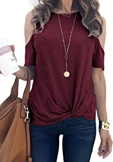 Women Summer Short Sleeve Strappy Cold Shoulder T-Shirt Tops Blouses (S-XXL)