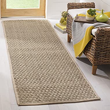 Safavieh Natural Fiber Collection NF114A Basketweave Natural and Beige Summer Seagrass Runner (2'6  x 10')