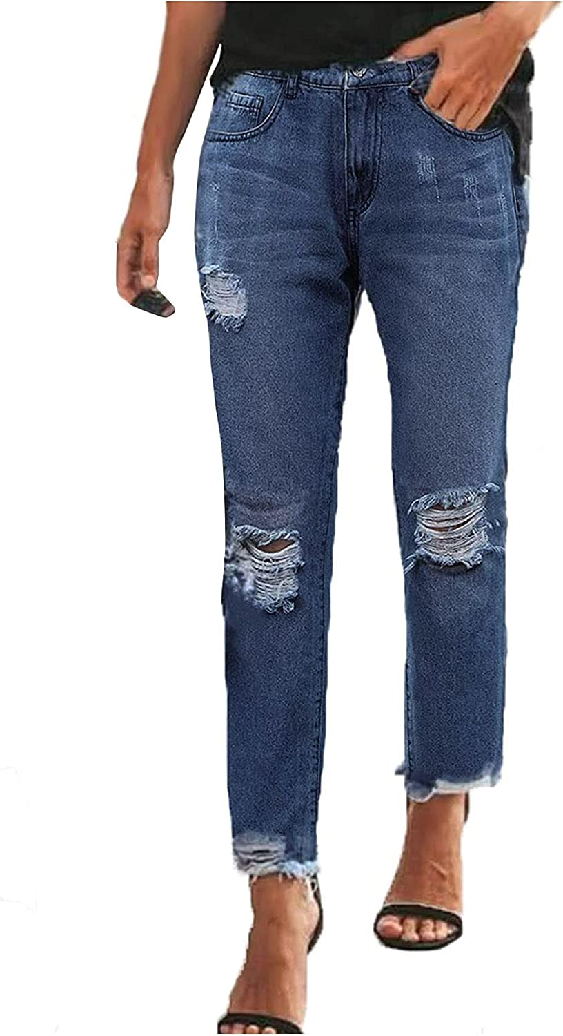MIVAMIYA Women's Ripped Mom Jeans High Waisted Fray Hem Jeans Skinny Denim Ankle Jeans Slim Fit Distressed Jeans Pants