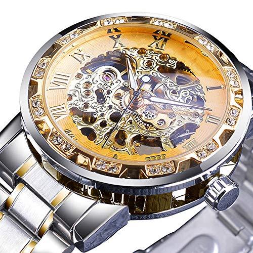UNJ Relojes mecánicos Azules para Hombre Reloj de Negocios de Viento de Mano de Diamantes de imitación de Banda de Acero Inoxidable Negro,S1089-5