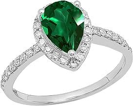 Dazzlingrock Collection 14K 9X6 MM Pear Lab Created Gemstone & Round White Diamond Ladies Halo Teardrop Engagement Ring, W...