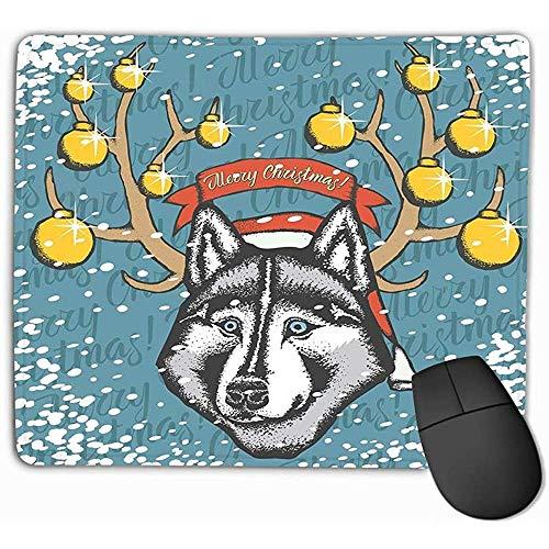 Alfombrilla Gaming Alfombrilla de ratón Alfombrilla de Goma Oblonga Alfombrilla de ratón Husky Navidad Husky Siberiano Dibujar a Mano Husky Dibujar a Mano Husky Sombrero de Santa 25 * 30CM