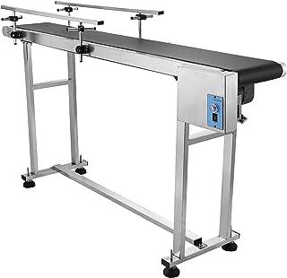 OrangeA Double Guardrail Belt Conveyor 59 x 7.8IN Adjustable Conveyor Table 0-82 ft per min PVC Conveyor Belt Stainless Steel Motorized Anti-Static