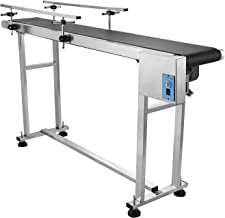 Happybuy Belt Conveyor 59 x 7.8 inch Conveyor Table Heavy Duty Stainless Steel Motorized Belt Conveyor for Inkjet Coding Applications Powered Rubber PVC Belt Anti Static (Double Guardrail)
