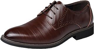 Wealsex Zapatos De Negocios para Hombres Moda Encaje Apuntado Puntera Zapatos De Cuero