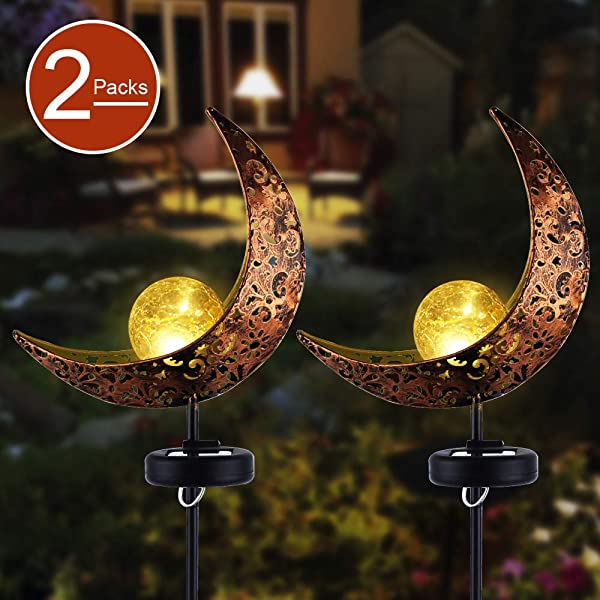 Garden Solar Stake Lights APONUO Pathway Outdoor Moon Crackle Glass Globe Stake Metal Lights Waterproof Warm White LED For Lawn Patio Or Backyard 2 Packs
