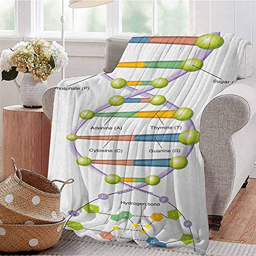 Educational Children's Blanket Colorful Structure of DNA Genetic Code Amino Acids Nucleotides Scientific Study Lightweight Soft Warm and Comfortable W70 x L84 Inch Multicolor