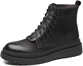 Xujw-shoes store, 2019 Mens New Lace-up Flats Mens Fashion Ankle Boots for Men Military Boot Leather High Top Front Zipper Lace Up Round Toe Platform Waterproof Wear Resistant Comfortable