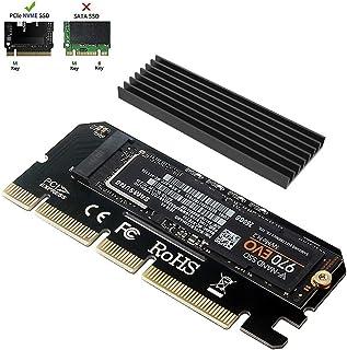 6amLifestyle M2 NVME PCIe Adaptador para SSD x16 PCI Express 3.0 con Aluminio Disipador de Calor Soporte PCIe x4 x8 x16 Ranura para M.2 PCIe Nvme M Key SSD 2230 2242 2260 2260 2260 2280