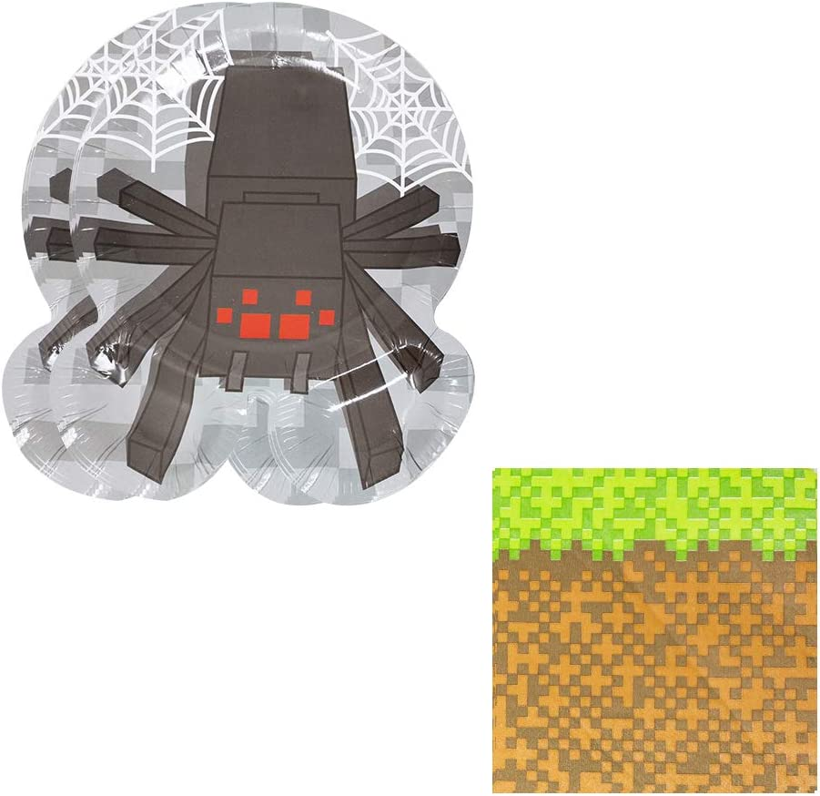 Pixel Spider Shaped Plate  Napkin Sets (35+ Pieces for 16 Guest