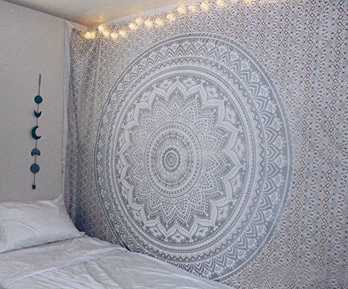 Aakriti Gallery Baumwolle Mandala Wandteppich Wandbehang - Böhmische Tagesdecke, Boho Decke / Überwurf Wandteppiche für Wohnzimmer, Wohnkultur (Gray, 235 x 210 cms)