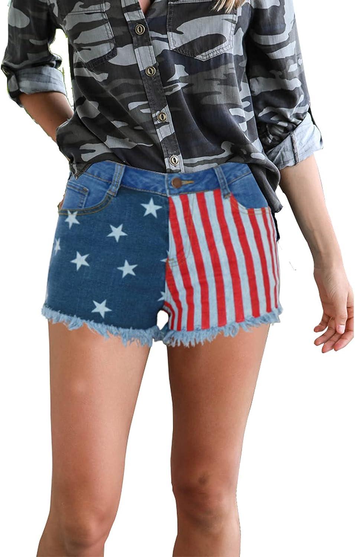 QJBMEI American Flag Denim Shorts for Women - Fringed Edges,Blue,XXL
