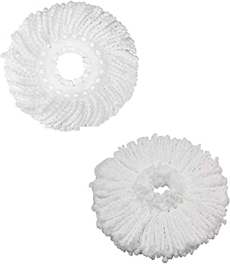 Twiclo Fabric and Plastic White 360° Rotating Magic Mop Refill (34 cm) - Pack of 2