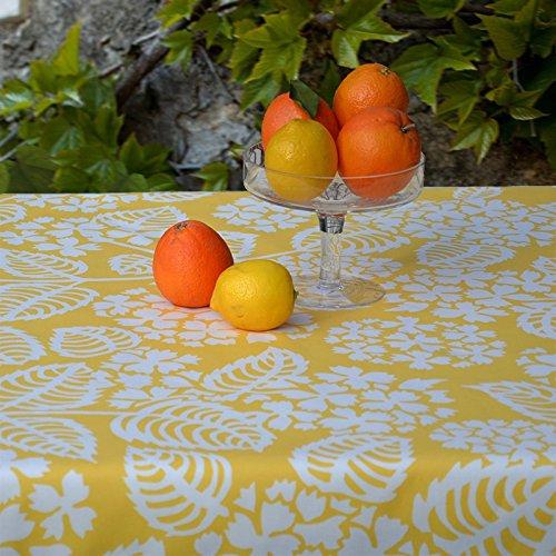 Flor de Sol–Mantel de algodón plastificado–160x 240cm–hortensias amarillo