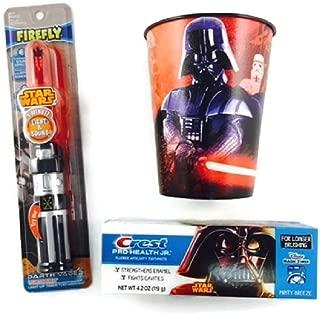 Star Wars Lightsaber Toothbrush Bundle Timer Lights Cup Toothpaste Darth Vader Minute