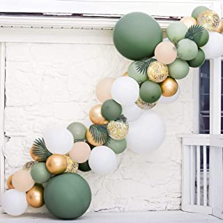 Sweet Baby Co. Sage Green Balloon Garland Arch Kit with Eucalyptus Olive, Peach, White, Gold Balloons and Greenery for For...