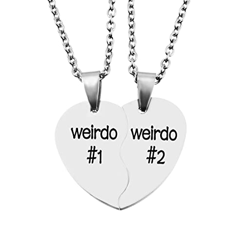 MJARTORIA Split Valentine Heart Rhinestone Best Friends Engraved Pendant Friendship Necklace Set of 2