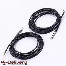 AZDelivery 2 x 3m cable DS18B20 sensor de temperatura digital de acero inoxidable sensor de temperatura resistente al agua para Arduino y Raspberry Pi con eBook incluido