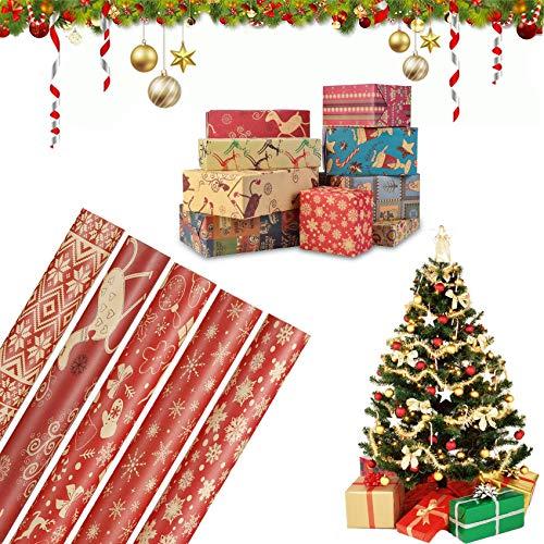 5 Hojas Papel Para Envolver Regalos,Navidad Papel para Regalo,Juego de Papel de Regalo para Navidad,Arbol Navidad Envolver Cajas de Regalo,Papel para Envolver Regalos,Papel de Regalo (3)