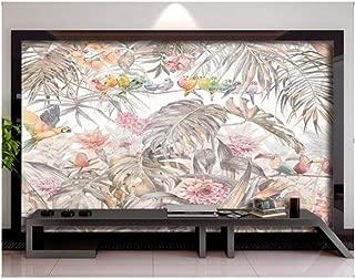 Jiling Wallpaper Photo Tropical Rainforest Plant Turtle Leaf Parrot Mural Home Decor Living Room Bedroom 3D Wallpaper-150X105Cm