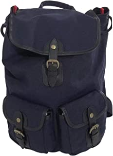 BROOKS BROTHERS RED FLEECE Men's NAVY W/RED COTTON CANVAS BACKPACK RUCKSACK W/LAPTOP SLEEVE