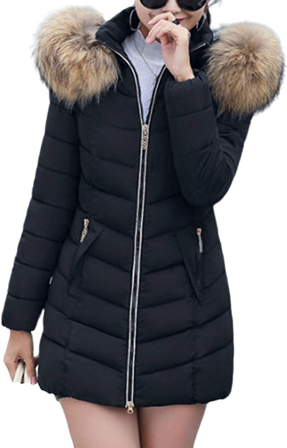 Yeokou Womens Casual Slim Faux Fur Neck Mid Long Zipper Cotton Padded Hoodie Coats