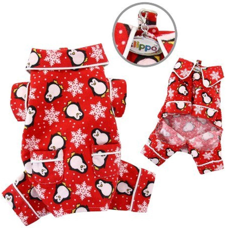 Adorable Penguins & Snowflake Flannel Pajamas (Red)  MEDIUM