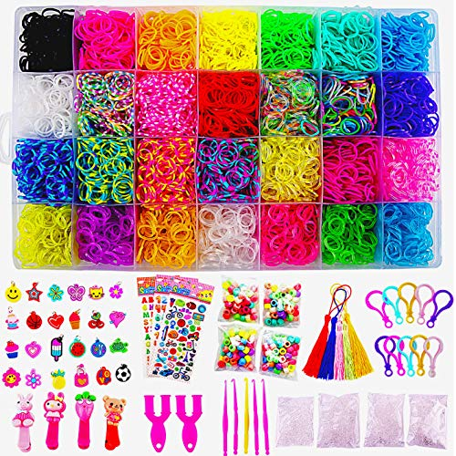 11680+ Rainbow Rubber Bands Mega Refill Bracelet Making Kit - Loom Bands Large Storage Container , Over 10000 Premium Loom Bands In Different Nice Colors , 600 S Clips , 25 Charms And 200 Beads