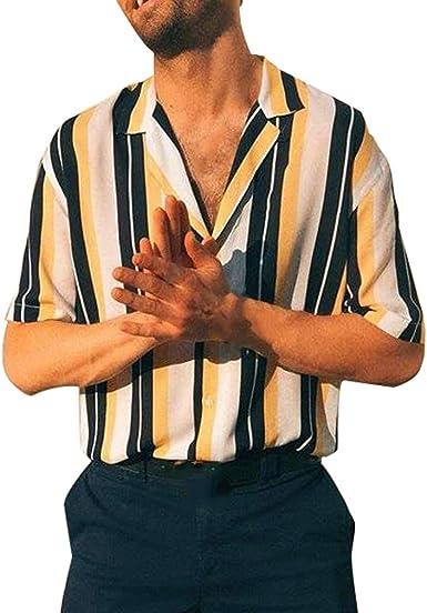 Hombre Camisa a Rayas Button Down Vintage Camisa Manga Larga ...