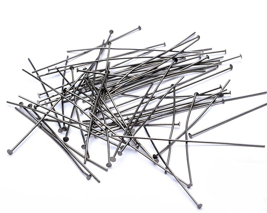 Beads Unlimited 2-inch Metal Headpin, Pack of 100, Black Antique