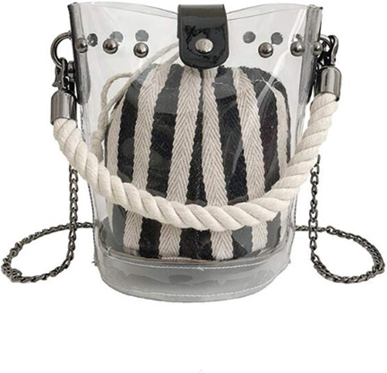 GSYDXKB Women's Transparent Jelly Chain Crossbody Bag Bucket