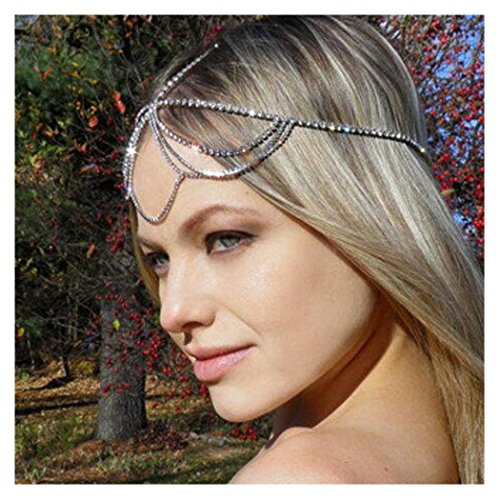 Simsly Head Chain Jewelry with Rhinestone Hair Headpiece for Women and Girls FV-066 (Silver)