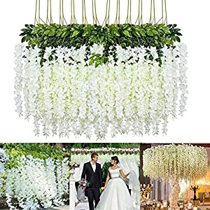 Lehom 24 Pack 86.6FT Artificial Fake Wisteria Vine Ratta Hanging Garland Silk Flowers String Home Party Wedding Decor White