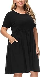 Hanna Nikole Women Casual Short Sleeve Dresses Empire Waist Dress with Pockets