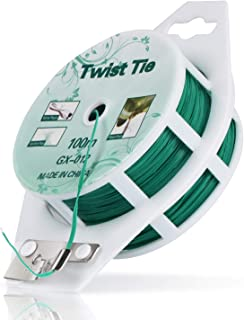 MUDNRRY 328ft (100m) Twist Ties, Green Coated Garden Plant Ties with Cutter for Gardening and Office Organization, Home
