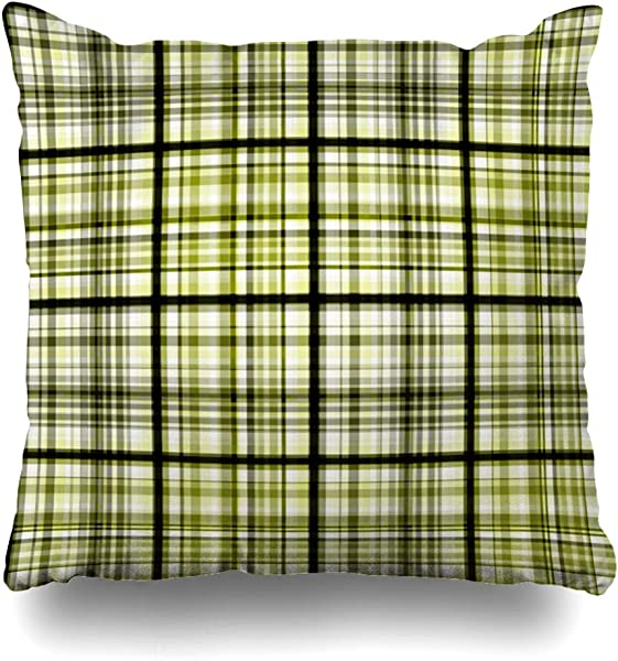 Ahawoso Throw Pillow Cover Pillowcase Pattern Black Plaid Olive Abstract Art Green Bright Check Checkered Color Country Design Picnic Home Decor Design Square Size 18 X18 Zippered Cushion Case