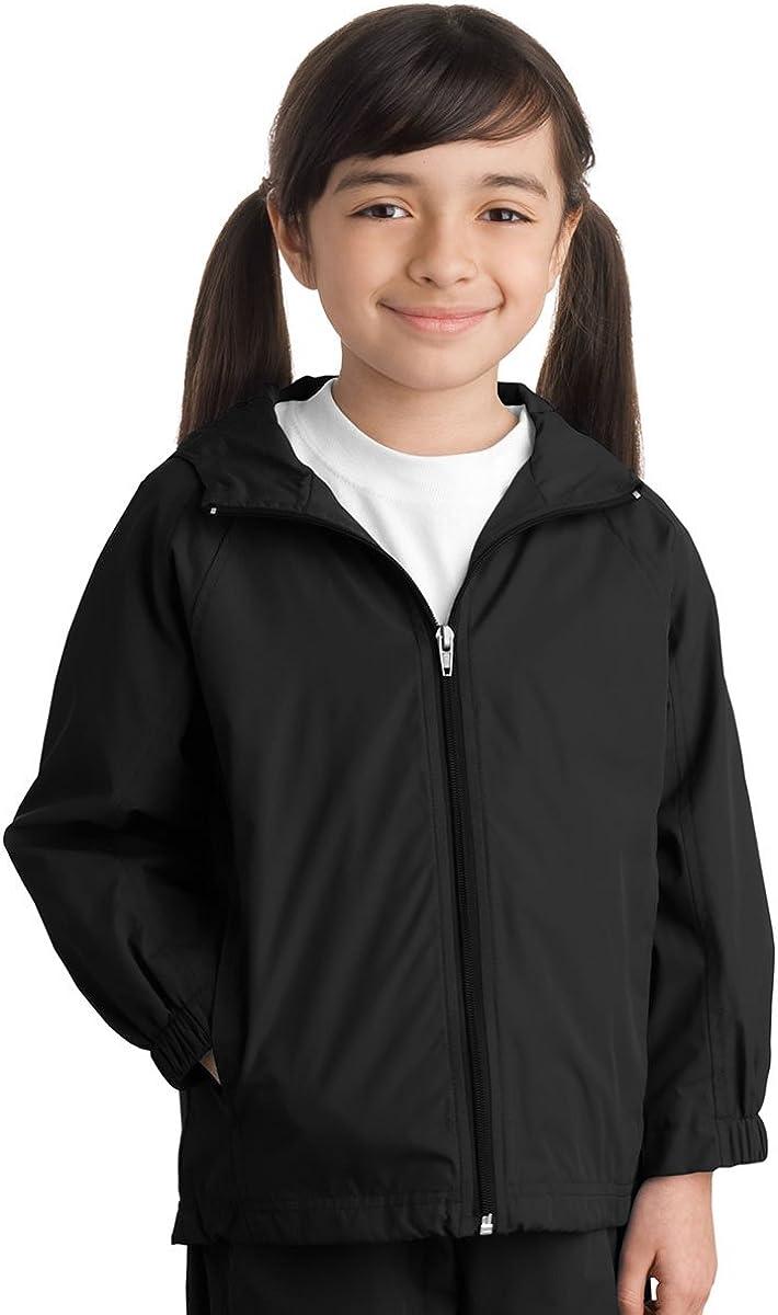 Sport-Tek Youth Stylish Sporty Hooded Raglan Sleeve Jacket, Large, Black