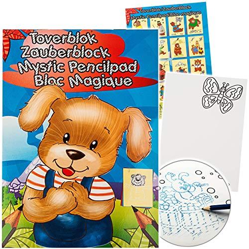 alles-meine.de GmbH Malbuch / Malblock - A5 - Zauberpapier - Zauberblock - lustige Tiere / Zootiere & viele Teddybären - Zaubermalblock Zaubermalbuch - für Stifte & Bleistift - B..