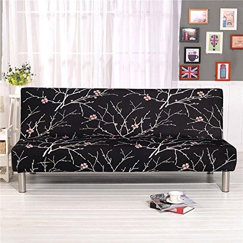 Housse de canapé en Tissu élastique imprimé floral, Noir , 160cm-195cm