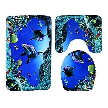 Moolecole Beach Seashells Starfish Sand Bath Mat Holidays Summer Bathroom Carpet Rug Non-Slip 3 Piece Toilet Mat Set (Shark)