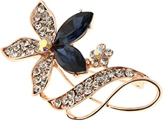 Wedding Anniversary Crystal Rhinestone Flower Brooch Pin Valentines Day Gift | Color - Sapphire