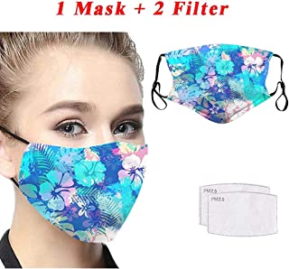 JQjian 1pc Face Bandana + 2pcs Activated Carbon Filters Replaceable for Adult's Face Health (E)