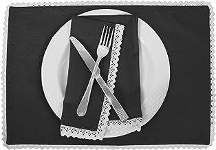 Vargottam Black Home Décor Reversible Table Decor White Lace Placemats Reversible Dining Mat-Set of 6