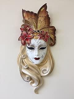 Art Deco Style Lady Butterfly Venetian Style Mask Wall Decor (Beige)