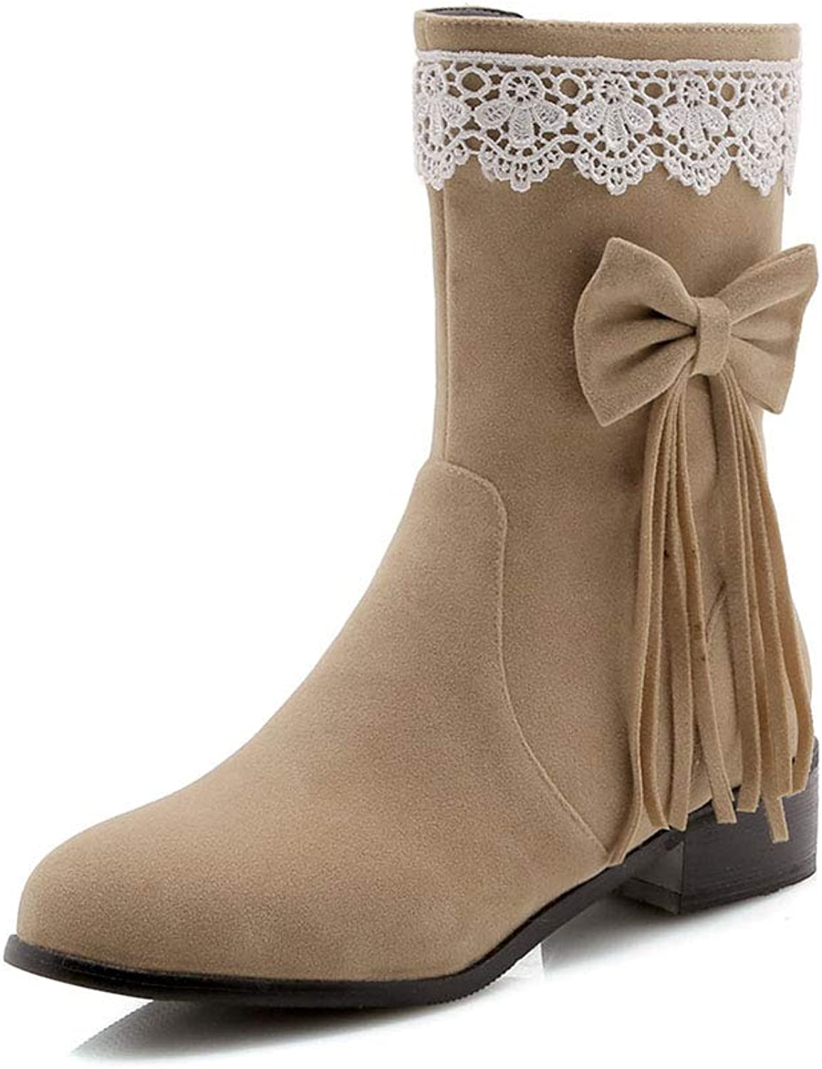TWGDH Flat Mid-Calf Boots Ladies Womans Casual Comfortable Round Toe Sweet Bow Ankle Booties