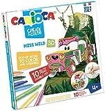 Carioca- Create & Color Pop-Up 3D con 10 Pennarelli Superlavabili a Doppia Punta-Miss Wild, 42906