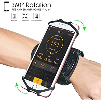 """Wristband Phone Holder,HCcolo 360°Rotatable Universal Sports Wristband for iPhone X/8 Plus/8/7/6s,Galaxy S9 Plus/S9/S8 & Other 4""""-6.5""""Smartphone,Running Armband for Hiking Biking Walking (Wrist)"""